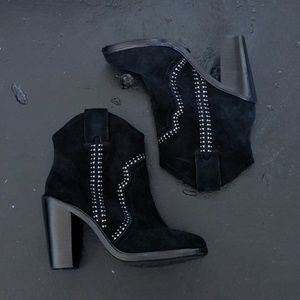 Joie Monte Black Suede Western Studded Booties